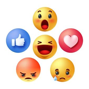 Zestaw emotikon reakcji w mediach społecznościowych