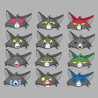 Zestaw emotikonów dla kota