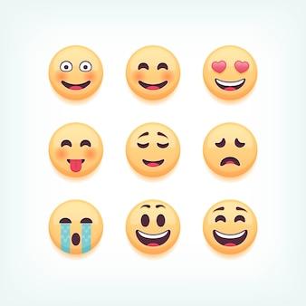 Zestaw emotikonów, emoji na białym tle, ilustracja.