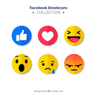 Zestaw emotikonów facebook w stylu płaski