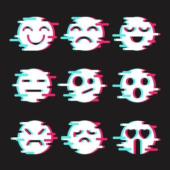 Zestaw emotikonów glitch