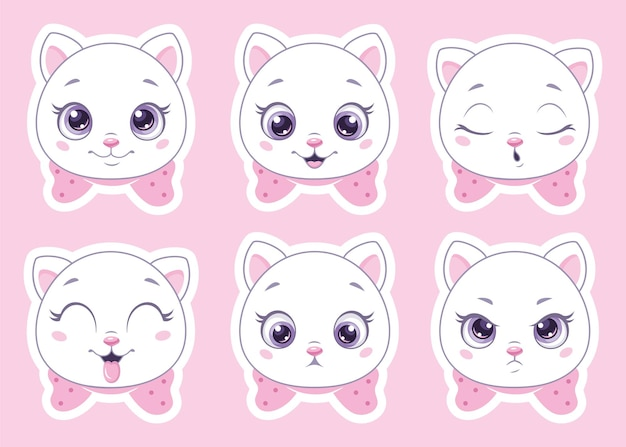 Zestaw emotikonów kotów kreskówka