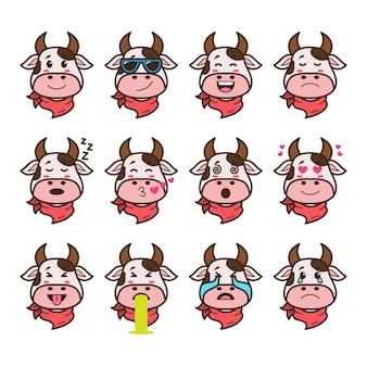 Zestaw emotikonów krowa