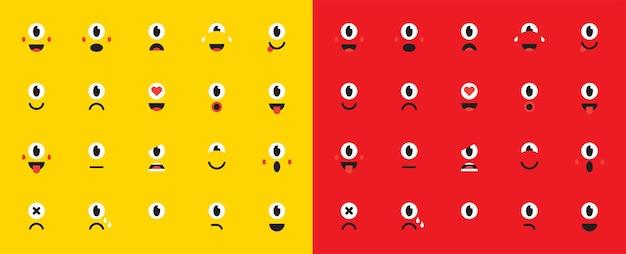 Zestaw emotikonów lub emotikonów dla urządzeń. ilustracja wektorowa.
