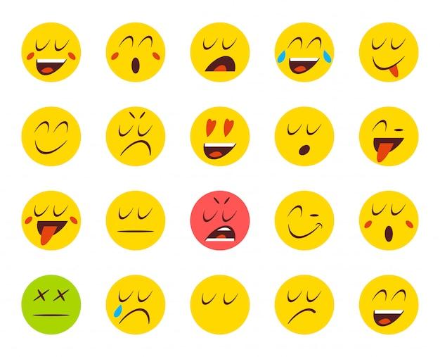 Zestaw emotikonów lub emotikonów. ilustracja wektorowa