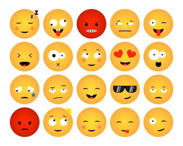 Zestaw emotikonów na białym tle. płaska konstrukcja kolekcji emoji dla mediów społecznościowych, internetu, druku, aplikacji. ilustracja