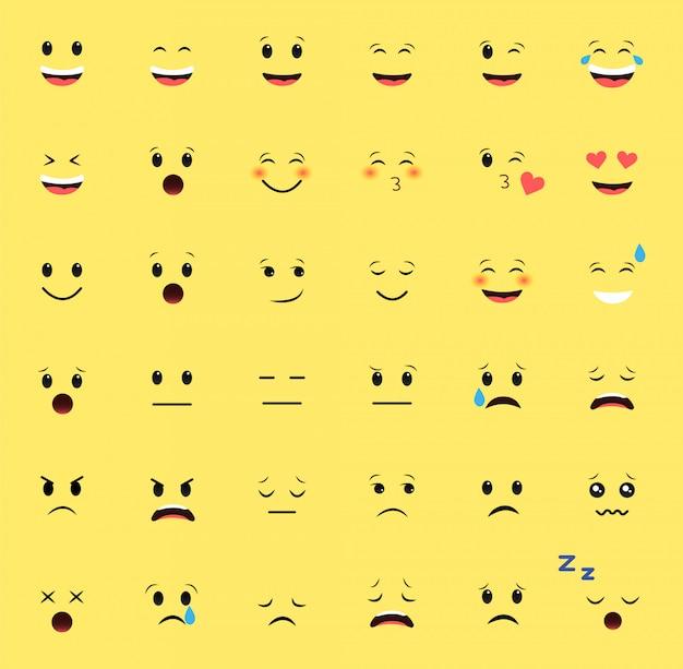 Zestaw emotikonów na żółtym tle. różne emocje.