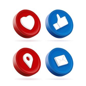 Zestaw emotikonów reakcji w mediach społecznościowych. 3d ikona przycisku mediów społecznościowych.