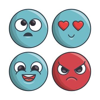 Zestaw emotikonów różnych uczuć i ekspresji