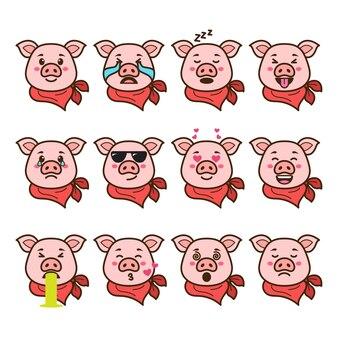 Zestaw emotikonów świnia