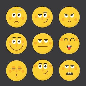 Zestaw emotikonów twarz emocje