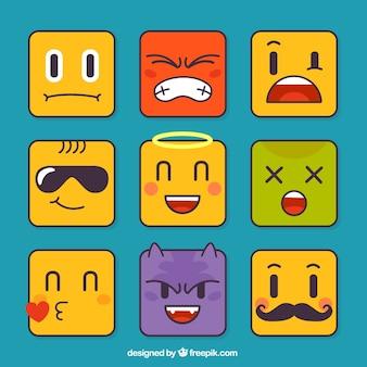 Zestaw emotikonów w kształcie kwadratu