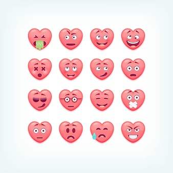 Zestaw emotikonów w kształcie serca. romantyczne i walentynkowe buźki, emotikony.