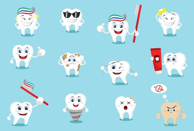 Zestaw emotikonów zębów kreskówka z różnymi wyrazami twarzy. mega zestaw zębów. duża kolekcja stomatologiczna do twojego projektu.