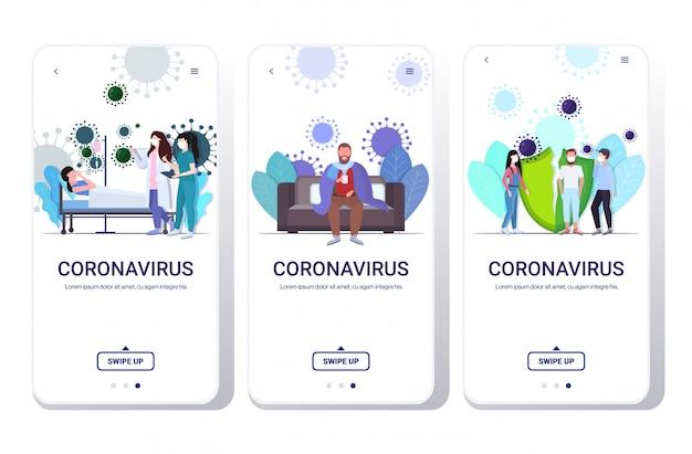 Zestaw epidemii wirusa mers-cov wuhan koronawirus 2019-ncov pandemiczne medyczne ryzyko zdrowotne koncepcje kolekcja aplikacja mobilna pełna długość kopia przestrzeń pozioma