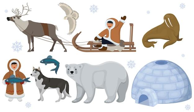 Zestaw etnicznych eskimosów ze zwierzętami polarnymi. sowa polarna, niedźwiedź, mors, jeleń. na białym tle.