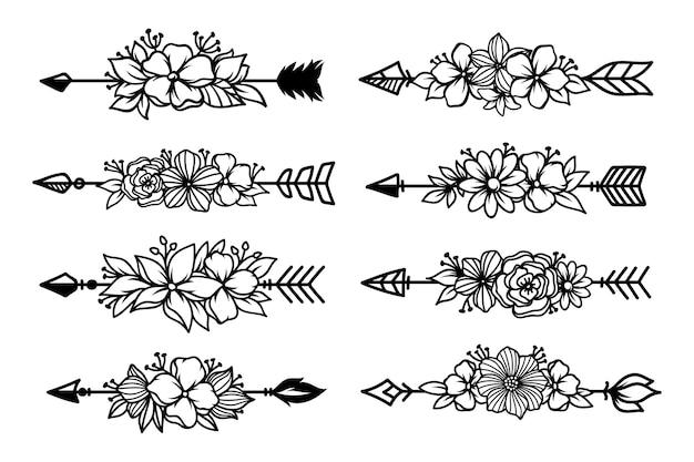 Zestaw etnicznych strzałek z bukietem kwiatów