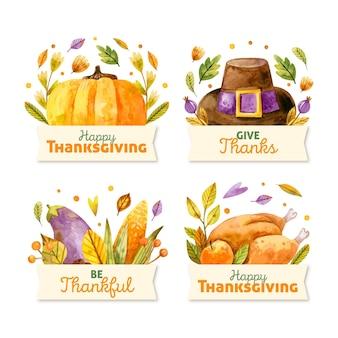 Zestaw etykiet akwarela dziękczynienia