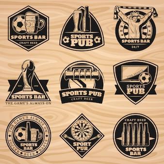 Zestaw etykiet czarny vintage sport bar