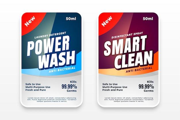 Zestaw etykiet detergentu lub środka dezynfekującego do prania