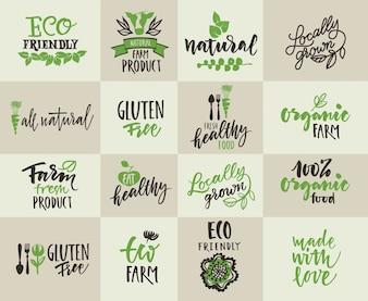 Zestaw etykiet dla rolnictwa naturalnego