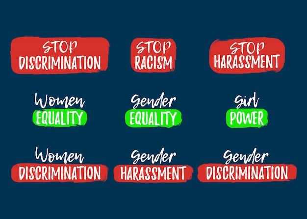 Zestaw etykiet dyskryminacji, rasizmu i nękania. czcionka z pędzlem. odznaki równych praw. ikona ilustracji wektorowych