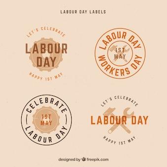 Zestaw etykiet dzień pracy w stylu vintage