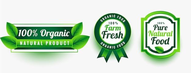 Zestaw etykiet ekologicznej czystej świeżej żywności naturalnej