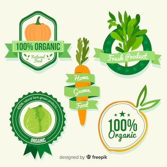 Zestaw etykiet ekologicznej żywności