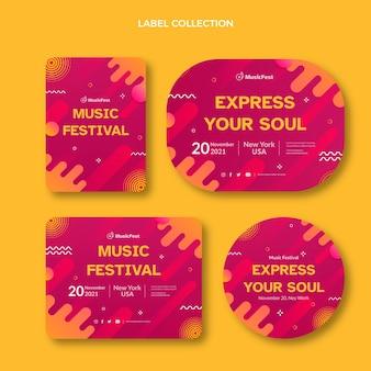 Zestaw etykiet festiwalu muzyki półtonowej z gradientem