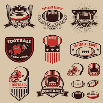 Zestaw etykiet futbolu amerykańskiego