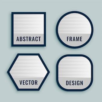 Zestaw etykiet geometrycznych wytłuszczonymi liniami