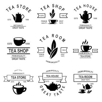 Zestaw etykiet herbaciarni.