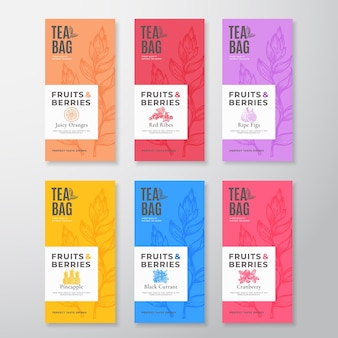 Zestaw etykiet herbaty owoców i jagód. pakiet układów abstrakcyjnych opakowań