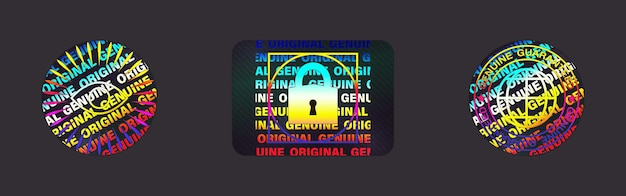 Zestaw etykiet hologramowych na białym tle. kolekcja naklejek holograficznych wektor. geometryczna pieczęć hologramowa na gwarancję produktu, projekt naklejki. symbol certyfikacji produktu. zestaw naklejek holograficznych jakości.