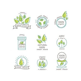 Zestaw etykiet i logo stevia