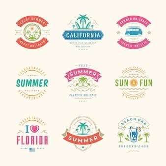 Zestaw etykiet i logo wakacji letnich
