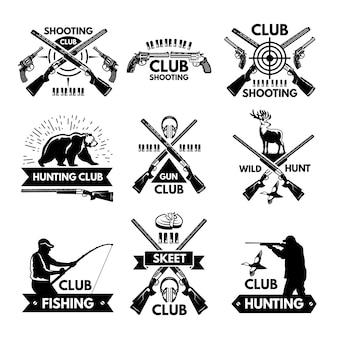 Zestaw etykiet i odznak dla klubu myśliwskiego
