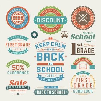 Zestaw etykiet i odznak z powrotem do elementów szkolnych