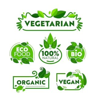 Zestaw etykiet i odznaki zielony eko wegetariańska żywność ekologiczna