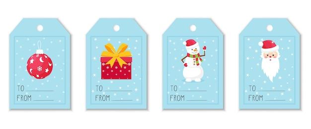 Zestaw etykiet i przywieszek na prezenty z elementami świątecznymi. zabawka choinkowa, pudełko, bałwan i święty mikołaj. śliczne ilustracje w stylu płaski na niebieskim tle z płatki śniegu.