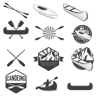 Zestaw etykiet kajakowych i elementów projektu