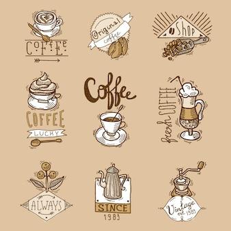 Zestaw etykiet kawy