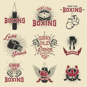 Zestaw etykiet klubu bokserskiego, emblematów i elementów projektu.