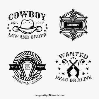 Zestaw etykiet kowboj