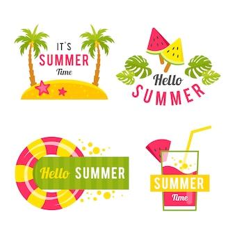 Zestaw etykiet letnich płaska konstrukcja