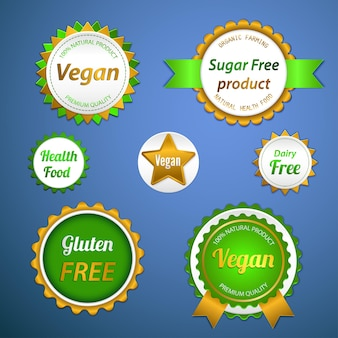 Zestaw etykiet, logo i naklejek na żywność ekologiczną i naturalną