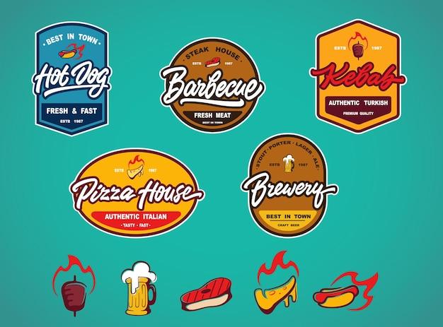 Zestaw etykiet, logotypów i szablonów do projektowania elementów dla różnych fast foodów, pubów, barów i innych