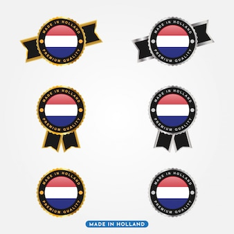 Zestaw etykiet made in holland