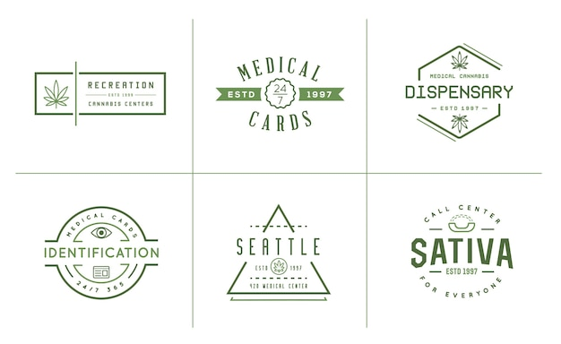 Zestaw etykiet medycznych konopi